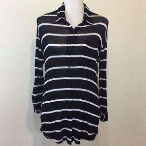 Splendid Black Striped Collared Long Sleeve